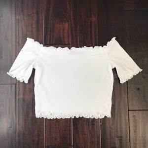 BOOHOO | white off-the-shoulder crop top